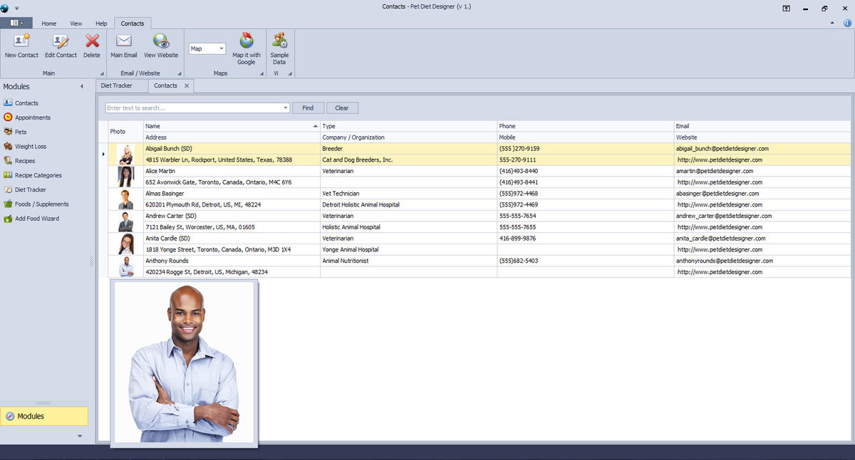 Contact Manager List View